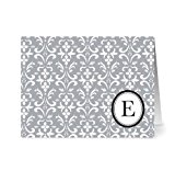 Modern Floral Damask 'E' Smoke Monogram - 24 Cards - Blank Cards w/ Grey Envelopes Included