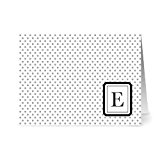 Modern Dots 'E' Smoke Monogram - 24 Cards - Blank Cards w/ Grey Envelopes Included