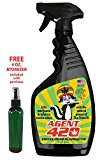 "AGENT 420 - 22 oz Cannabis Odor Destroying Spray for Eliminating Pot Smoke, Cigarette Smoke or Most Unwanted Odors In Your House, Car or Apartment, So Freshen Up The ""Joint""! Inludes FREE atomizer"