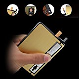 Automatic Ejection Rechargeable Cigarette Case Lighters with LED Flashlight,Windproof Electric Flameless USB Lighter Box Holder,Best Gift for Men