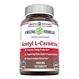 Amazing Formulas Acetyl L-Carnitine Dietary Supplement - 1000mg, 120 Tablets Per Bottle - Promotes Energy Production, Supporting Brain Heath & Cognitive Function, Helps To Reduce Nerve Pain.